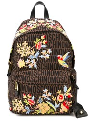 Moschino Flower Embroidered Monogrammed Backpack Brown