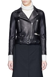 Acne Studios 'Mock' Lambskin Leather Motorcycle Jacket Black
