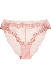 La Perla Secret Story Embroidered Leavers Lace And Tulle Briefs Pastel Pink