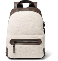 Lanvin Shearling And Leather Backpack Brown