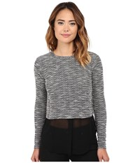 Michael Stars Tweed Knit Long Sleeve Crew Neck W Chiffon Tweed Women's Clothing Gray