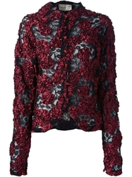 Krizia Vintage Applique Floral Lace Jacket Black