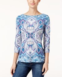 Charter Club Paisley Print Boat Neck Top Only At Macy's Bright White Combo
