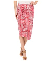 Mod O Doc Patchwork Tiles Printed Rayon Spandex Jersey Knotted Wrap Skirt Zinnia Women's Skirt Yellow