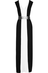 Raoul Margaret Two Tone Paneled Silk Gown Black
