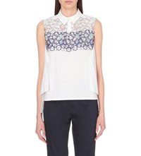 Peter Pilotto Sleeveless Embroidery Overlay Cotton Shirt White