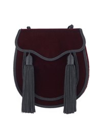 Saint Laurent Opium 2 Tassel Velour Crossbody Bag Bordeaux Black Brown Black