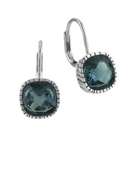 The Sak Cushion Cut Crystal Leverback Earrings Blue