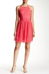 Trixxi Crochet Halter Skater Dress Pink