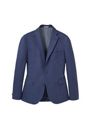 Mango Slim Fit Linen Suit Blazer Navy
