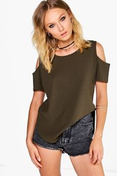 Boohoo Open Shoulder Curved Hem Crepe T Shirt Khaki