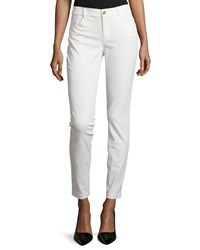 Minnie Rose Skinny Stretch Twill Ankle Pants White