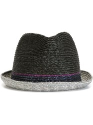 Paul Smith Straw Trilby Hat Black