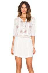 Hoss Intropia Embroidered Peasant Dress Cream