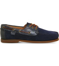 Polo Ralph Lauren Bienne Ii Suede And Leather Boat Shoes Newport Navy