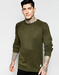 Bellfield Fine Gage Crew Kneck Jumper With Elbow Patch Green