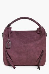 Boohoo Studded Handle Zip Front Tote Bag Berry