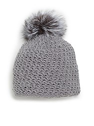 Saks Fifth Avenue Fur Pom Pom Knit Cap Grey Blue