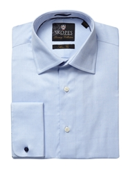 Tailored Fit Double Cuffed Shirt Blue