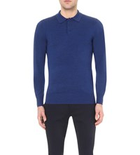 Reiss Mansion Wool Polo Jumper Bright Blue