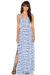 Surf Gypsy Tribal Print Cutout Maxi Dress Blue