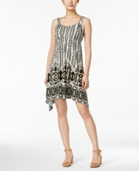 Styleandco. Style And Co. Petite Sleeveless Printed Handkerchief Hem Dress Only At Macy's Jungle Ikat