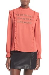 Wayf Women's 'Westin' Lace Peasant Top Coral