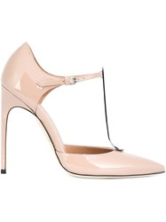 Brian Atwood T Strap Pumps Nude And Neutrals