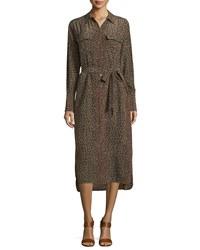 Equipment Delany Leopard Print Long Sleeve Shirtdress Dusty Olive Multi