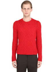 Neil Barrett Wool Cable Knit Sweater