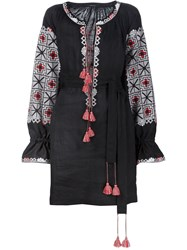 Vita Kin Embroidered Batwing Sleeve Dress Black