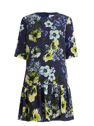 Erdem Emmie Hasu Night Print Silk Crepe Dress Navy Multi