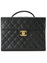 Chanel Vintage Quilted Briefcase Black