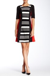 Robbie Bee Center Striped Colorblock Dress Multi