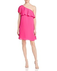 Amanda Uprichard Zoe One Shoulder Ruffle Dress Hot Pink