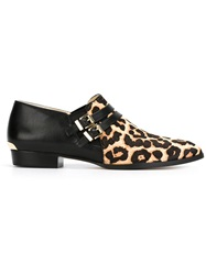 Michael Michael Kors Leopard Print Buckled Loafers Nude And Neutrals