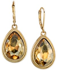 2028 Gold Tone Light Brown Faceted Pear Drop Earrings