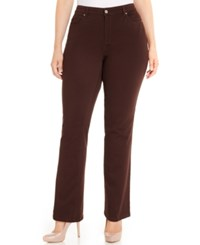 Charter Club Plus Size Lexington Colored Tummy Control Straight Leg Jeans Only At Macy's Rich Truffle