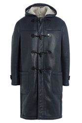 Joseph Leather Duffle Coat Blue