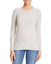 Bloomingdale's C By Crewneck Cashmere Sweater Light Grey Donegal