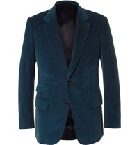 Kingsman Blue Slim Fit Cotton And Cashmere Blend Corduroy Blazer Petrol
