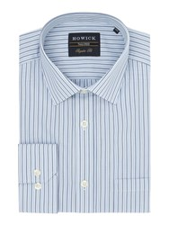 Howick Longwood Classic Collar Striped Shirt Blue
