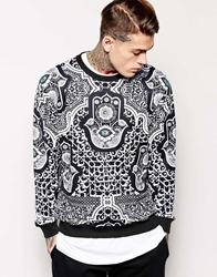 Jaded London Sweatshirt In Evil Eye Print Black