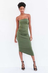 Silence And Noise Slinky Ruched Strapless Midi Dress Olive