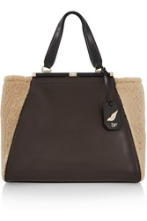 Diane Von Furstenberg 440 Runaway Shearling And Textured Leather Tote