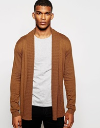 Asos Open Front Cardigan In Merino Wool Mix With Texture Lapel Tan