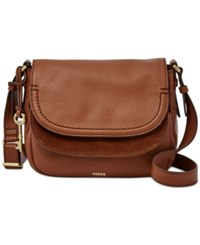 Fossil Peyton Leather Double Flap Bag Brown