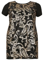 Samya Plus Size Paisley Sequin Detail Dress Gold