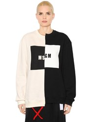 Msgm Two Tone Logoed Cotton Jersey Sweatshirt