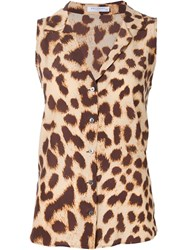 Equipment Leopard Print Sleeveless Shirt Brown